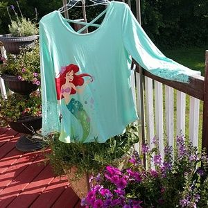 Disney Little Mermaid Lace Sleeve Top NWT